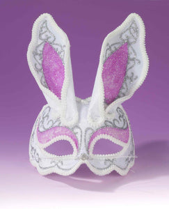 White And Pink Glamour Bunny Mardi Gras Costume 3/4 Mask