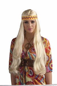 Woodstock Costume Wig With Headband Blonde