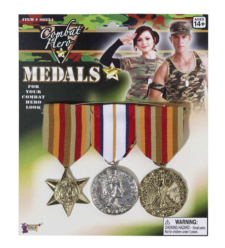 Combat Hero  Set of 3 Army Medals Costume Accessory