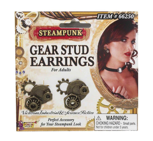 Steampunk Gear Stud Earrings Adult Costume Jewelry