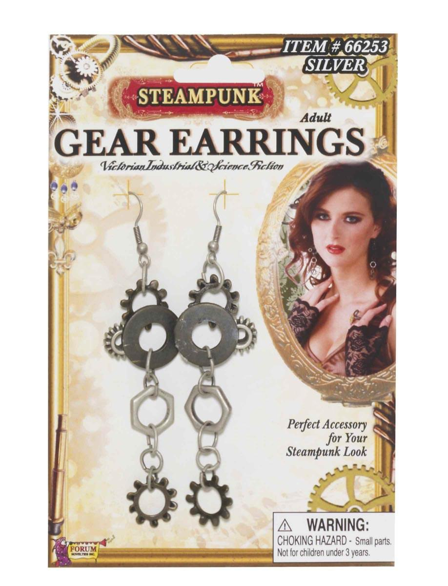 Steampunk Gear Silver Earrings Adult Costume Jewelry