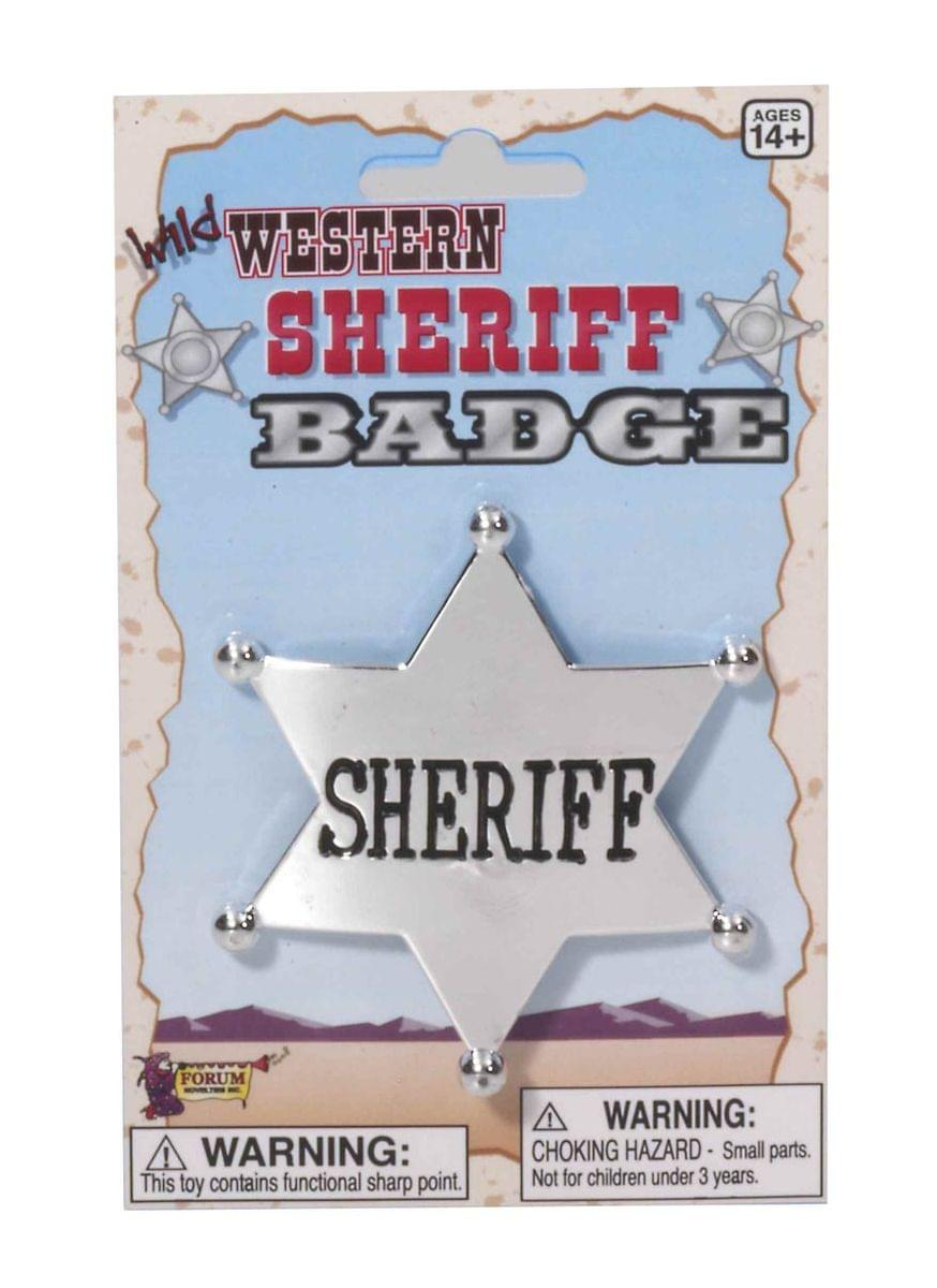 Western Silver Cowboy Sheriff Badge Costume Accessory