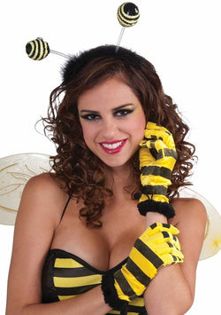 Yellow & Black Striped Short Bee Gloves Costume Accessory Adult
