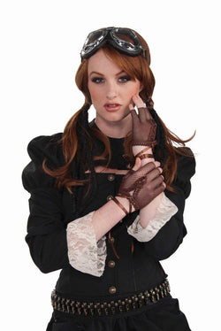 Steampunk Fingerless Brown Fishnet Gloves Adult Costume Accessory