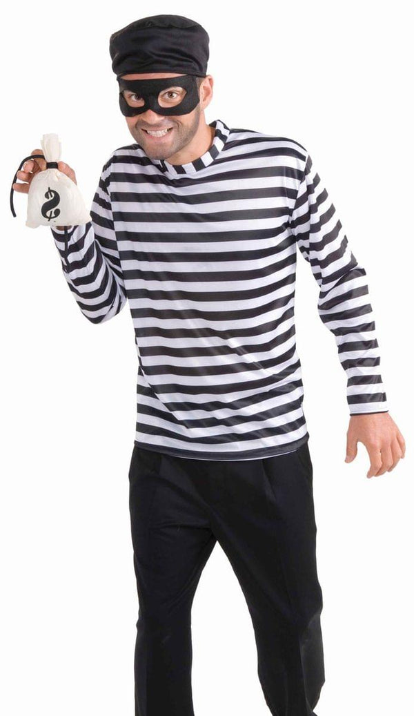 Burglar Costume Shirt w/Hat, Mask & Money Bag Adult