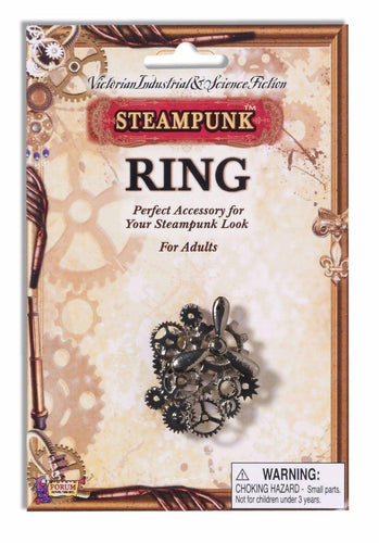Steampunk Silver Propeller & Gears Costume Ring