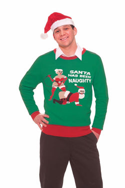Ugly Christmas Naughty Santa Adult Sweater