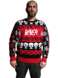 Slayer Pentagram & Skulls Adult Christmas Sweater Small