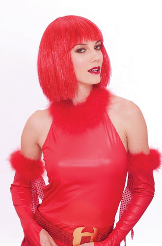 Glitzy Glamour Bob Red Adult Costume Wig