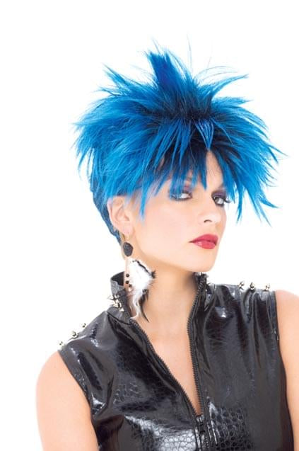 Punk Girl Blue & Black Adult Costume Wig