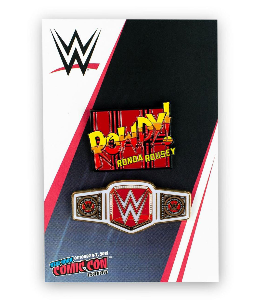 WWE Rowdy Ronda Rousey Collector Pin Set | Exclusive Women's Champion Belt Pin