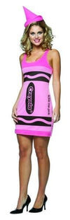 Tickle Me Pink Crayola Crayon Tank Dress Costume Adult