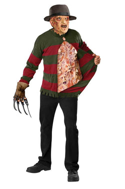 Nightmare On Elm Freddy Sweater Screaming Chest Costume Adult