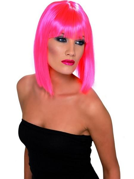 Neon Pink Short Glam Blunt With Fringe Costume Wig