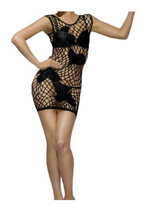 Diamond Net Heart Pattern Costume Dress Adult: Black