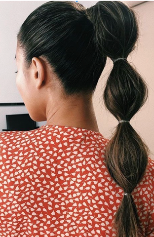 bubble ponytail hairstyle closeup