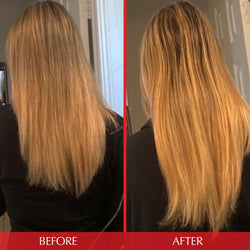 customer before and after photo of hair length