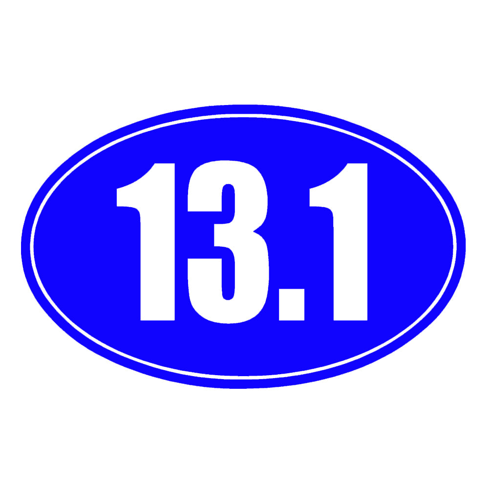 13.1 Half Marathon Running Solid Oval Single Color Transfer Type Decal