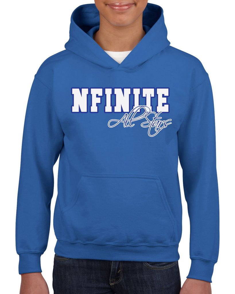 NFINITE Royal Blue Heavy Blend Hoodie w/ NFINITE All Stars 2 Color Logo on Front.