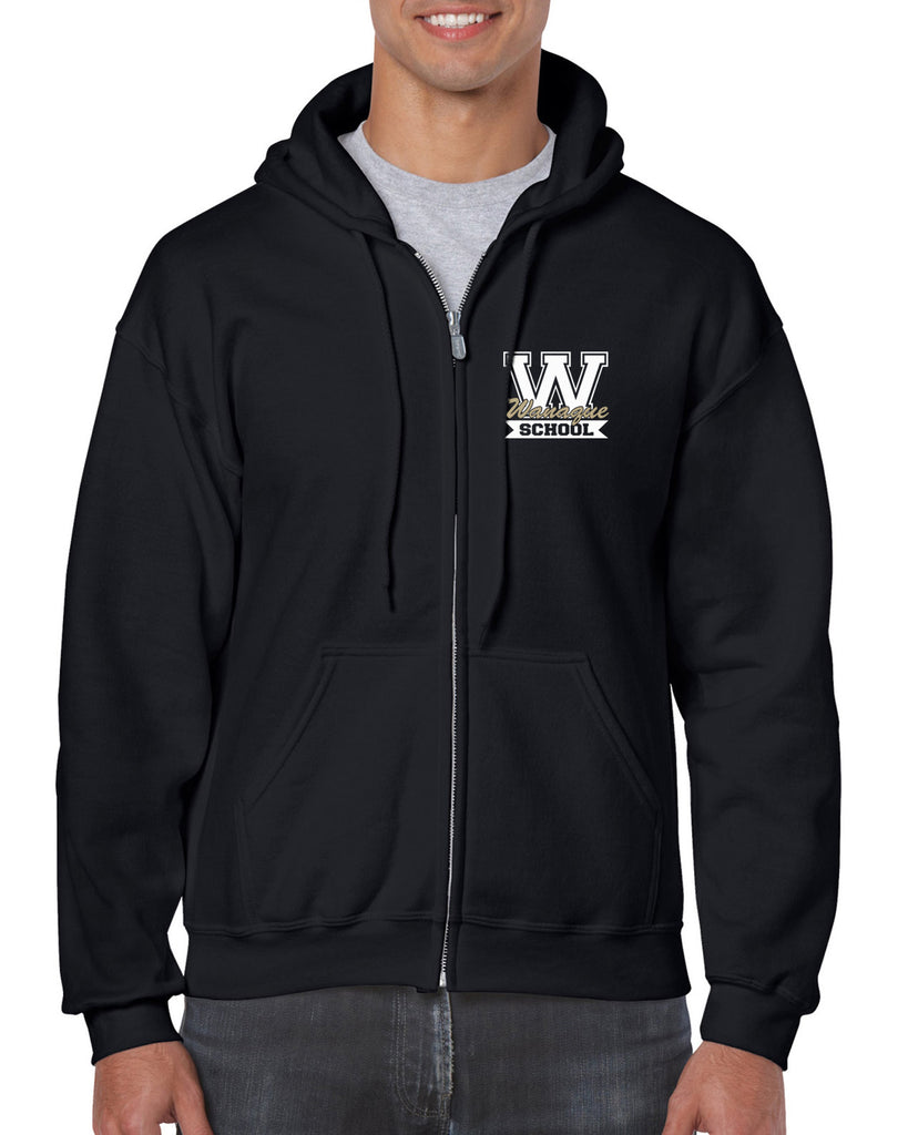 "WANAQUE School Black Heavy Blend FULL-ZIP Hoodie w/ Small WANAQUE School ""W"" 2 color Logo on Front Left Chest."
