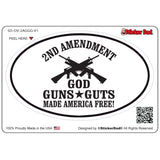 2ND AMENDMENT GOD GUNS GUTS V1 Oval Full Color Printed Vinyl Decal Window Sticker