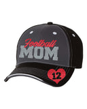 Football Mom Glitter Hat with Option Player # Heart Graphic