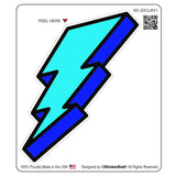 3-D CARTOON LIGHTNING BOLT V1 - Blue - 4