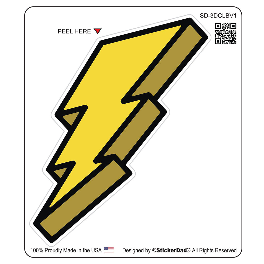 "3-D CARTOON LIGHTNING BOLT V1 -Yellow - 4"" Full Color Printed Vinyl Decal Window Sticker"
