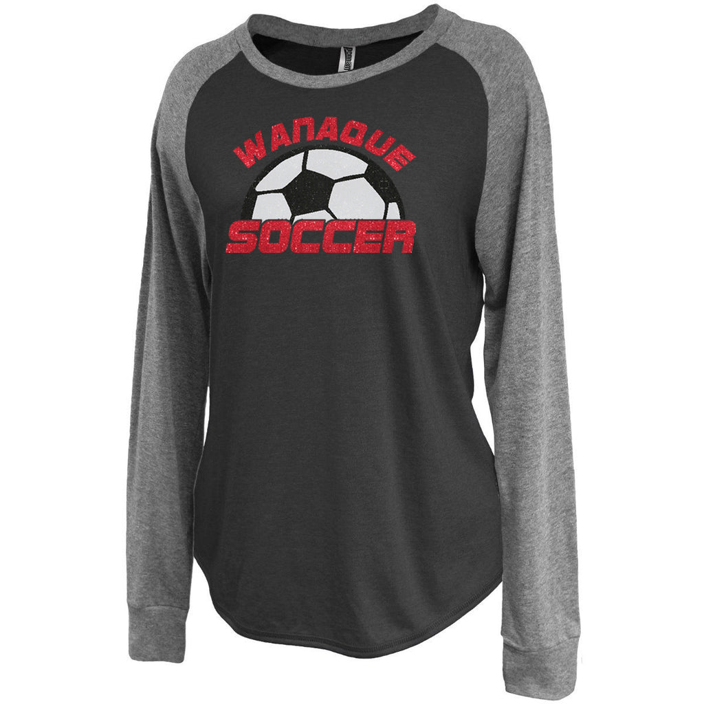Wanaque Soccer Jersey Raglan Crewneck Long Sleeve Tee with Large Half Ball Logo on Front in GLITTER