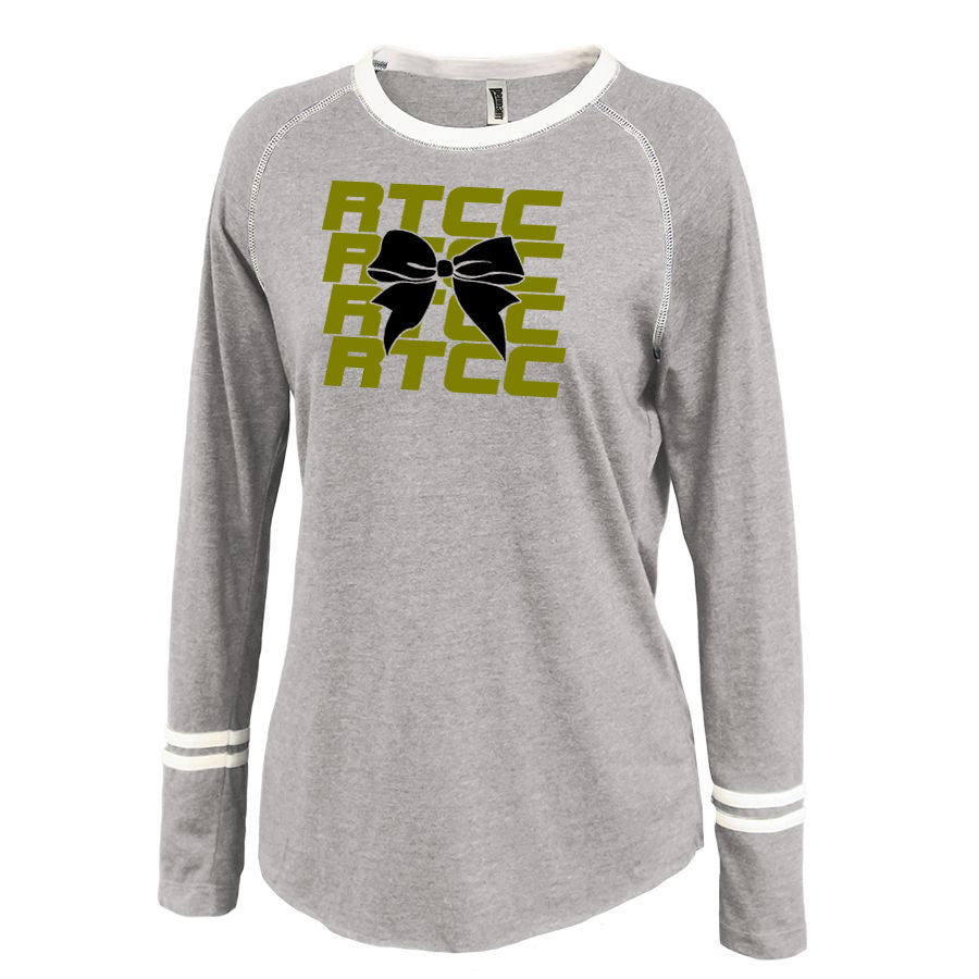 RTCC Gray Ringer Stripe Crew Shirt w/ RTCC 2 Color Bow Design on Front.