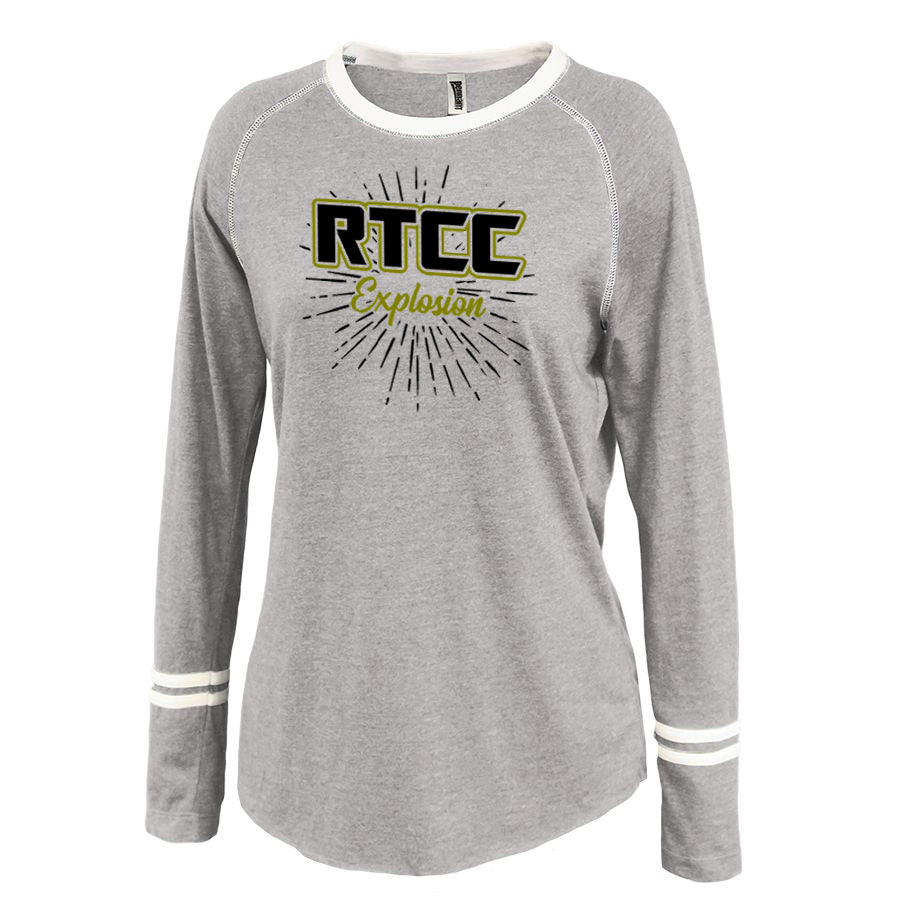 RTCC Gray Ringer Stripe Crew Shirt w/ RTCC 2 Color Burst Design on Front.