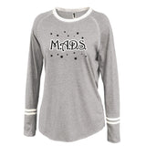 MADS Gray Ringer Stripe Crew Shirt w/ 2 color MADS Stars Design on Front.