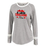 Jr Lancers Competition Cheer Gray Ringer Stripe Crew Shirt w/ 2 color MOM Design on Front.