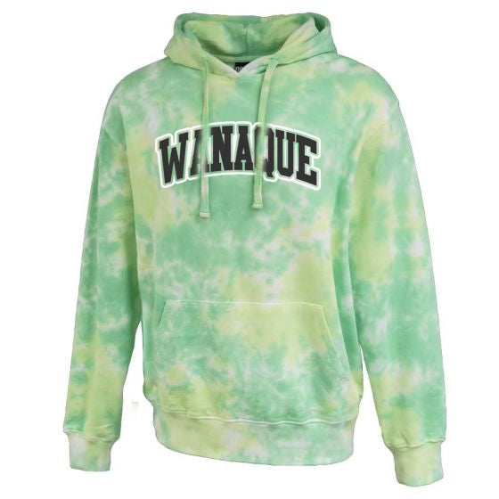 Wanaque School Green Spectrum Tie-dye Hoodie w/ ARC 2 Color Design on Front.