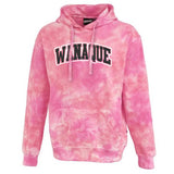 Wanaque School Pink Spectrum Tie-dye Hoodie w/ ARC 2 Color Design on Front.