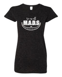 MADS Black Glitter Crew T-Shirt w/ All MADS Design on Front.