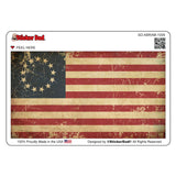 Aged Betsy Ross American Flag 1009 Full Color 5 inch Printed Vinyl Decal Window Sticker