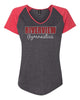 Riverview Gymnastics Women's Triblend Colorblock V-Neck Raglan Tee w/ 2 Color SPANGLE Design on Front.