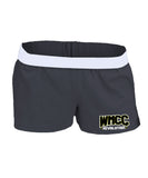 WMCC Black Authentic Low Rise Soffe Short w/ Gold & White Print Logo on Front Left Leg.