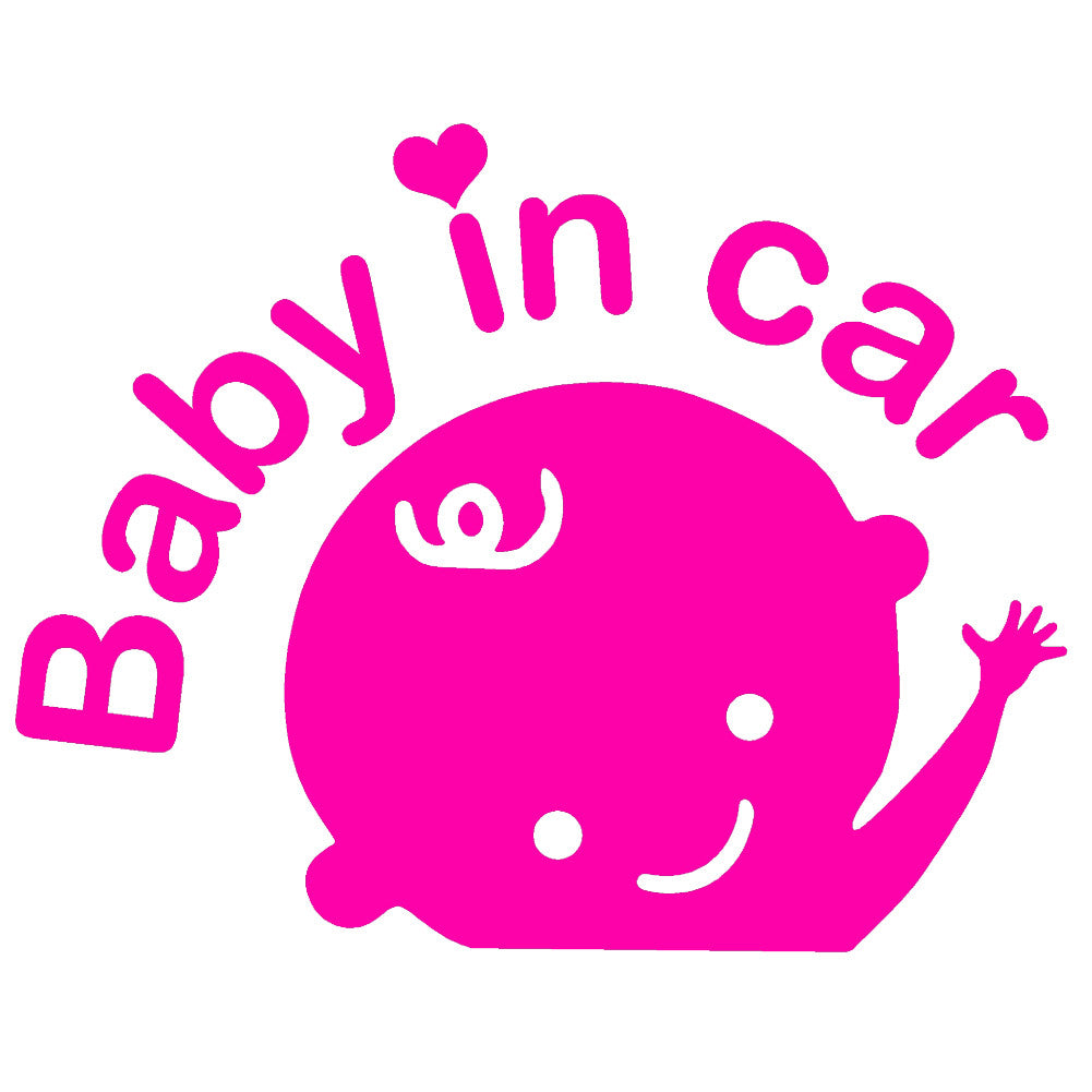Baby in Car Waving V1 Single Color Transfer Type Decal