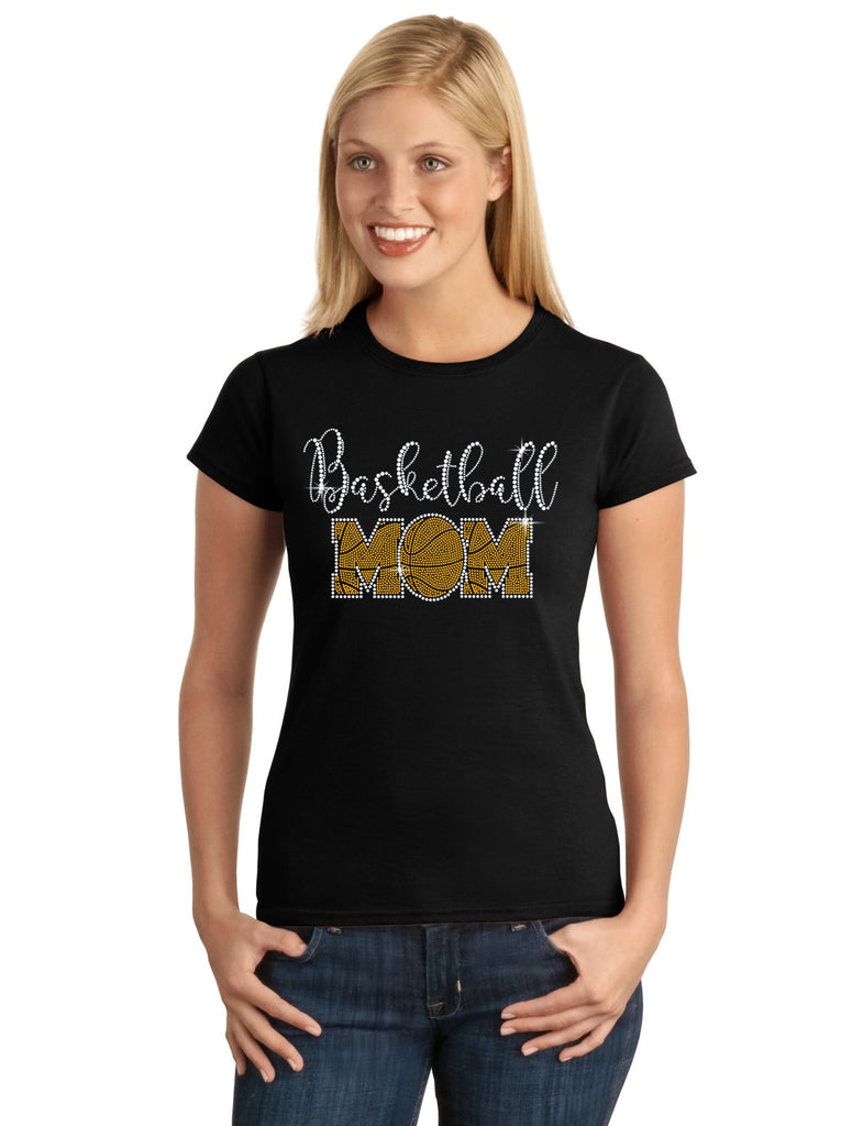 BASKETBALL Mom V1 Spangle Bling Design Shirt
