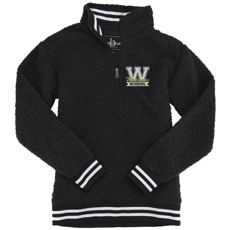 "Wanaque School BC Black ADULT VARSITY SHERPA w/ Wanaque School ""W"" Logo Embroidered on Front."