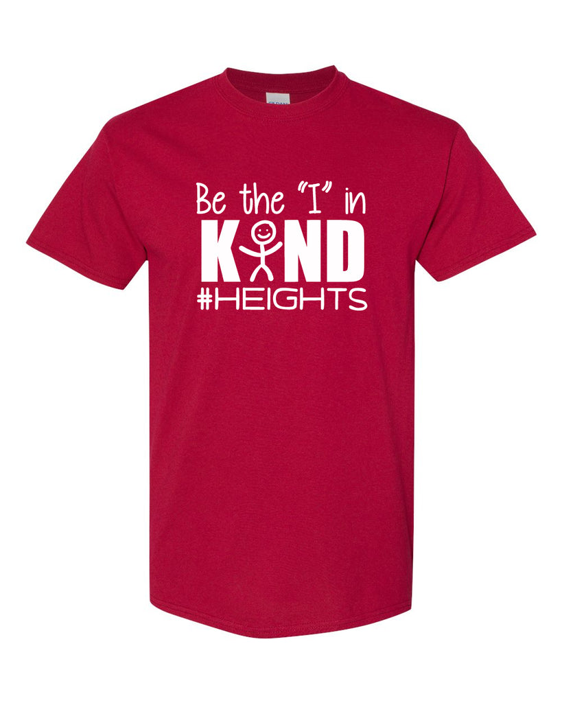 "Heights Red Short Sleeve Tee w/ Be the ""I"" in Kind Design in White on Front."