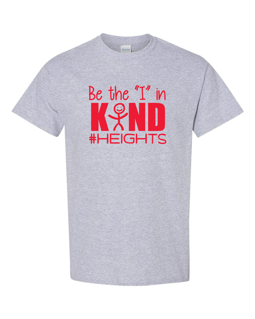 "Oakland Heights School Sport Gray Short Sleeve Tee w/ Be the ""I"" in Kind Design in Red on Front."