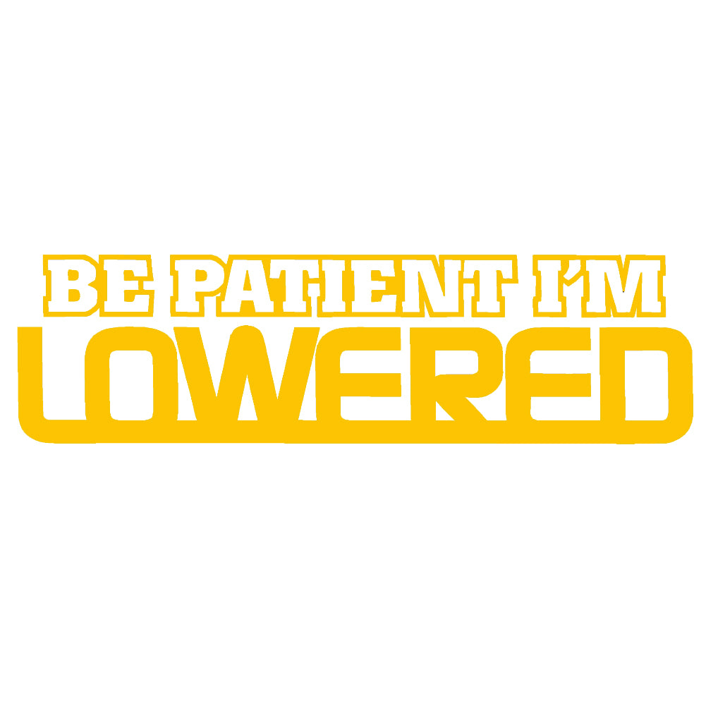 BE PATIENT I'M LOWERED V2 Single Color Transfer Type Decal