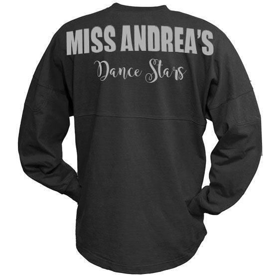 MADS Black Billboard Crew Shirt w/ Miss Andreas Dance Stars Design on Back.