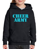 Cheer Army Black Heavy Blend Hoodie w/ Columbia Blue CHEER ARMY Stencil Logo on Front.