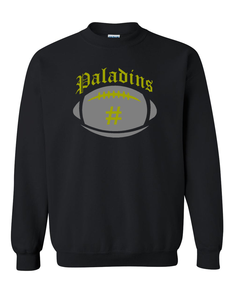 Paramus Catholic Black Crew Neck Swetashirt w/ Large Front 2 Color Design