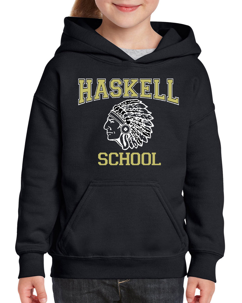 "HASKELL School Black Heavy Blend Hoodie w/ HASKELL School ""Indian"" Logo on Front."
