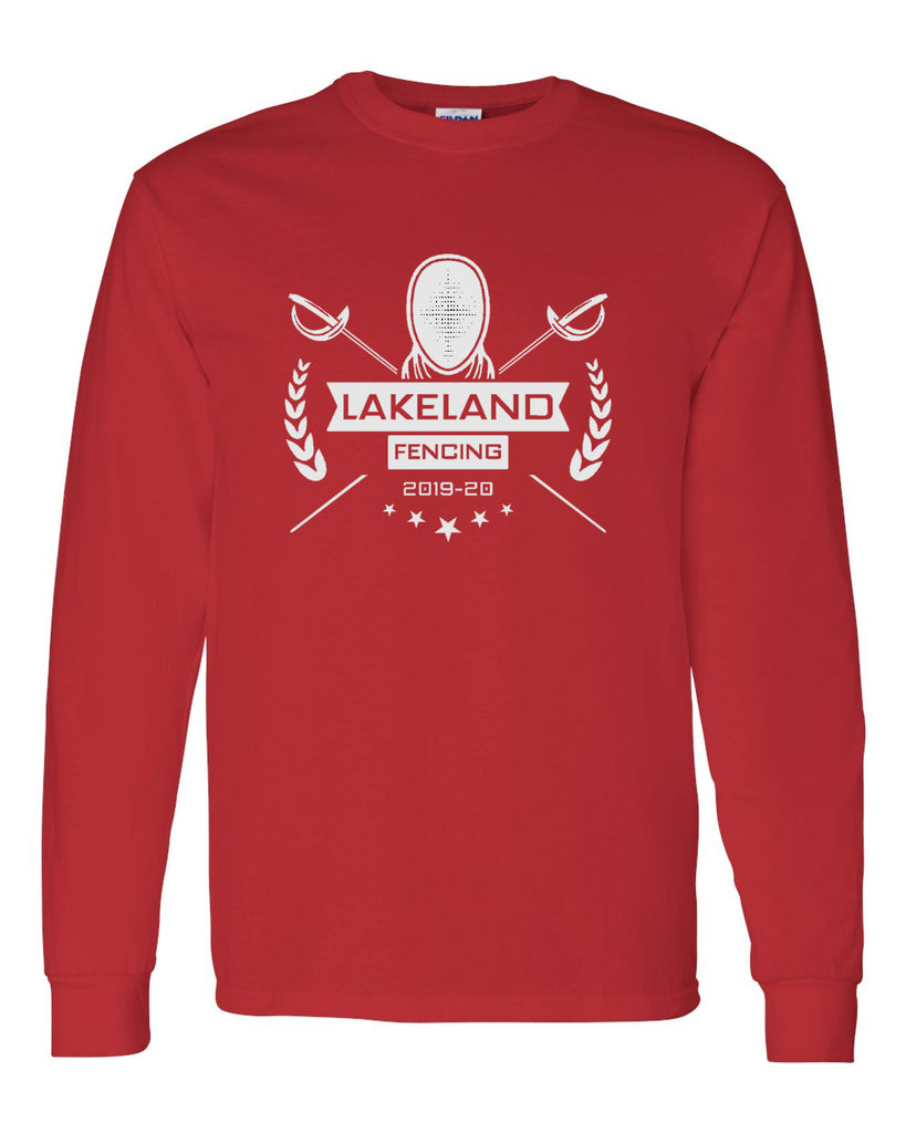 Lakeland Fencing Red 100% Cotton Long Sleeve Tee w/ White Design